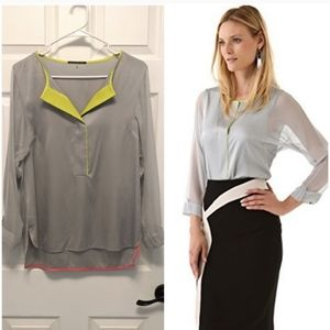 Elie Tahari Mallory Silk Blouse in Highrise Grey